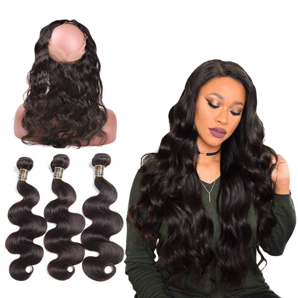 Puddinghair 8A High Grade Body Wave Real Virgin Human Hair 3 Bundles Hair Weaving With 360 Lace Frontal Closure