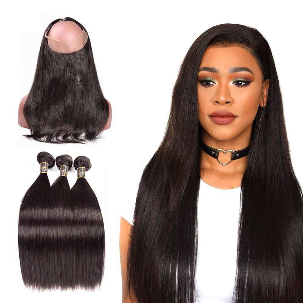 Puddinghair 8A High Grade Real Virgin Human Straight Hair 3 Bundles Hair Weaving With 360 Lace Frontal Closure