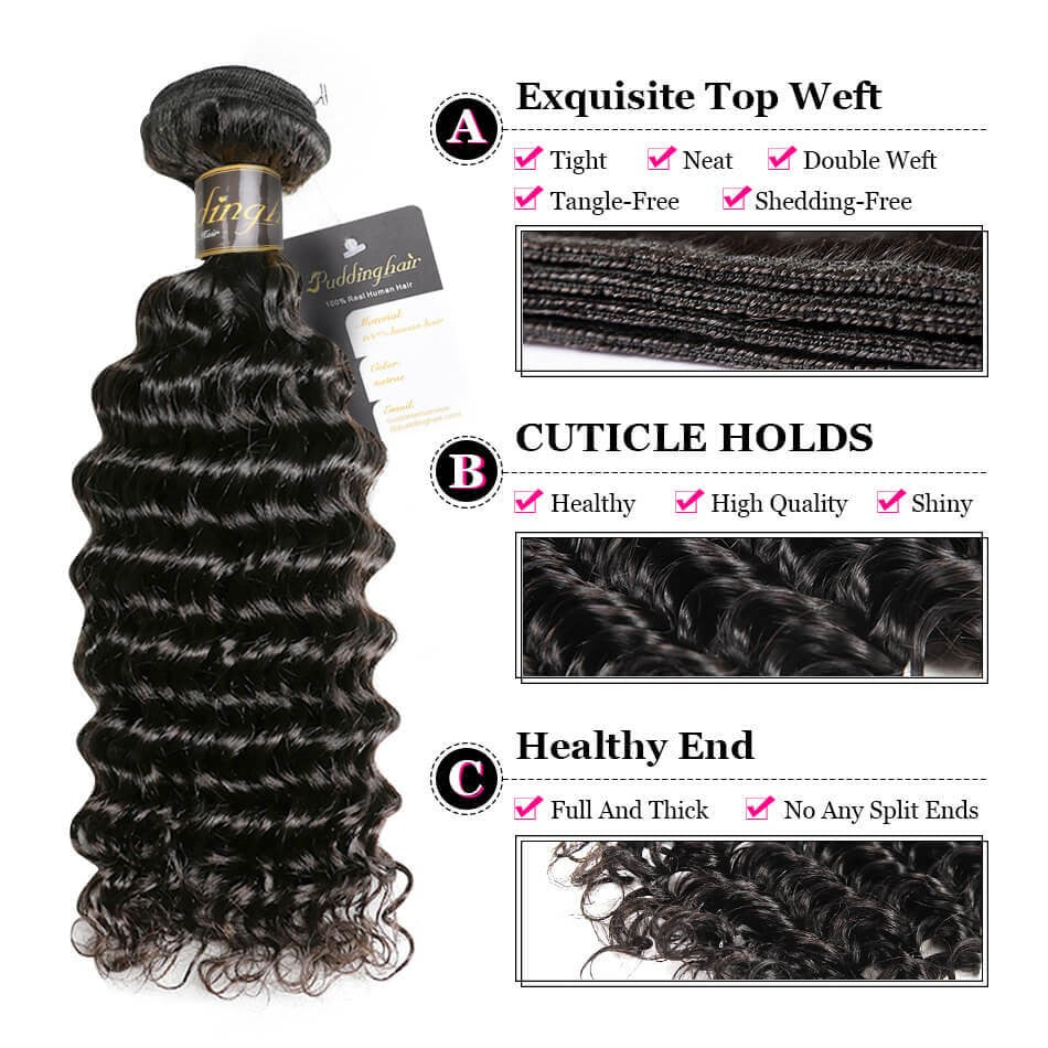 Puddinghair 8A Brazilian/Peruvian 1 pcs Virgin Human Hair Deep Wave Bundles