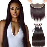 Puddinghair 8A Brazilian Straight Hair 3 Bundles Virgin Hair with Lace Frontal Closure