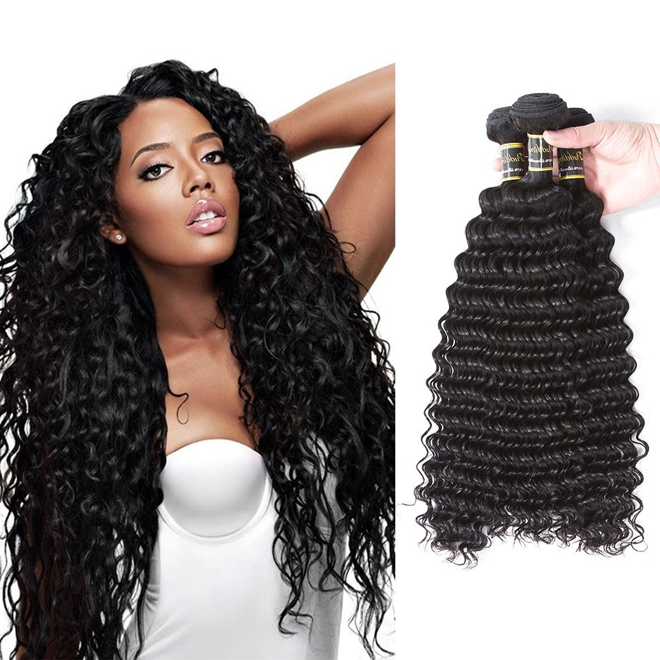 Puddinghair 8A Brazilian 3 Bundles Hair Products Peruvian Deep Wave Virgin Hair