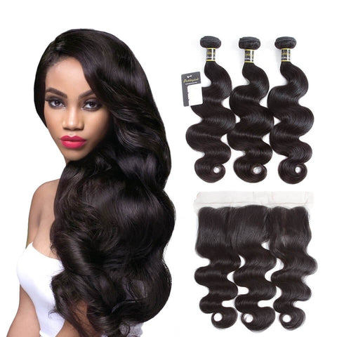 Puddinghair 8A Brazilian 3pcs Body Wave Hair Weft With 13x4 Lace Frontal Closure