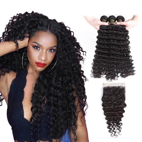 Puddinghair 8A Brazilian 3 Bundles Deep Wave With 4x4 Lace Closure