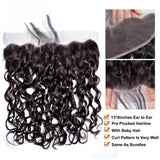 Puddinghair 8A Brazilian Water Wave 3 Bundles Human Hair With Lace Frontal Closure