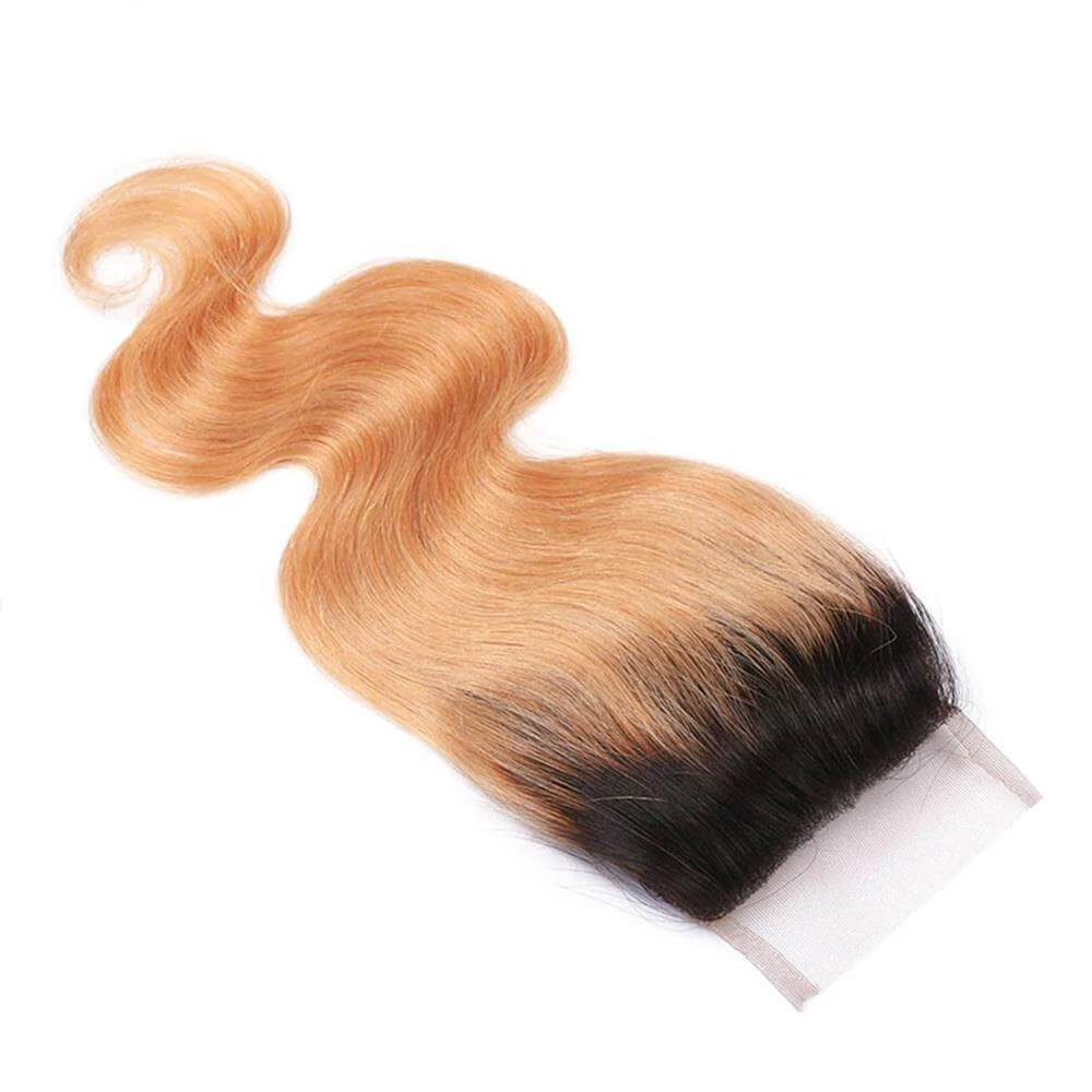 Puddinghair 8A Brazilian 1B/27 Blonde Ombre Human Hair Body Wave 4x4 Lace Closures
