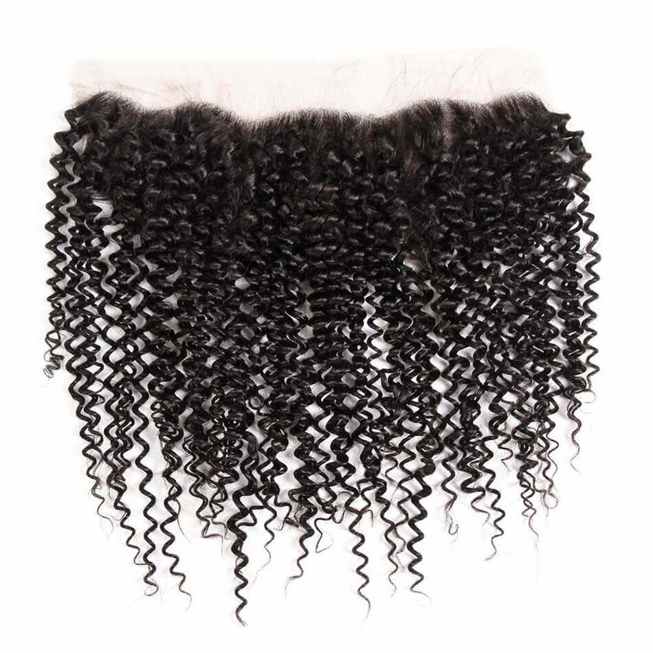 Puddinghair 8A Peruvian Kinky Curly 3 Bundles Human Hair With Lace Frontal Closure