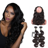 Puddinghair 8A Brazilian Body Wave Virgin Hair 2 Bundles With 360 Lace Closure