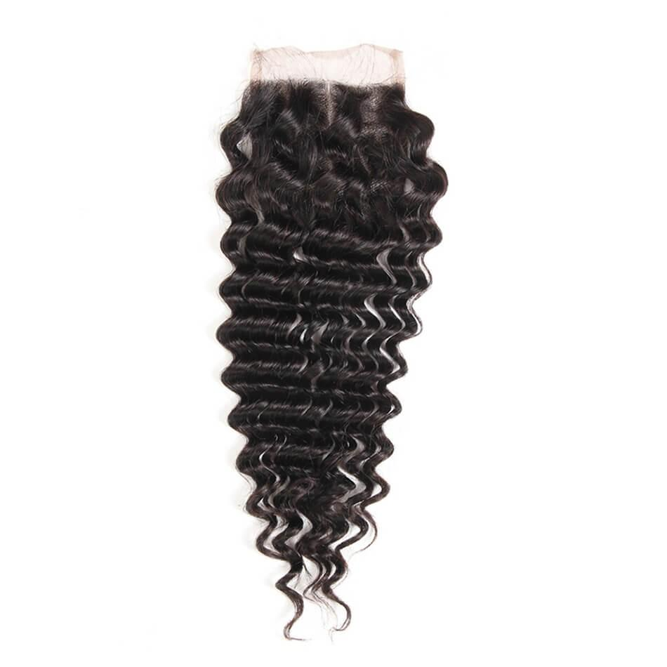 Puddinghair 8A Virgin Human Hair 4 Bundles With 4x4 Lace Closure Peruvian Deep Wave Hair