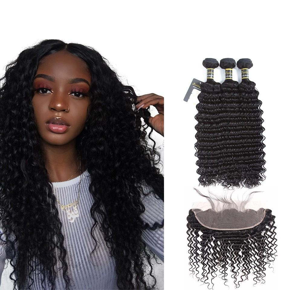 Puddinghair 8A Brazilian 3 Bundles Deep Wave Human Hair With 13x4 Lace Frontal Closure