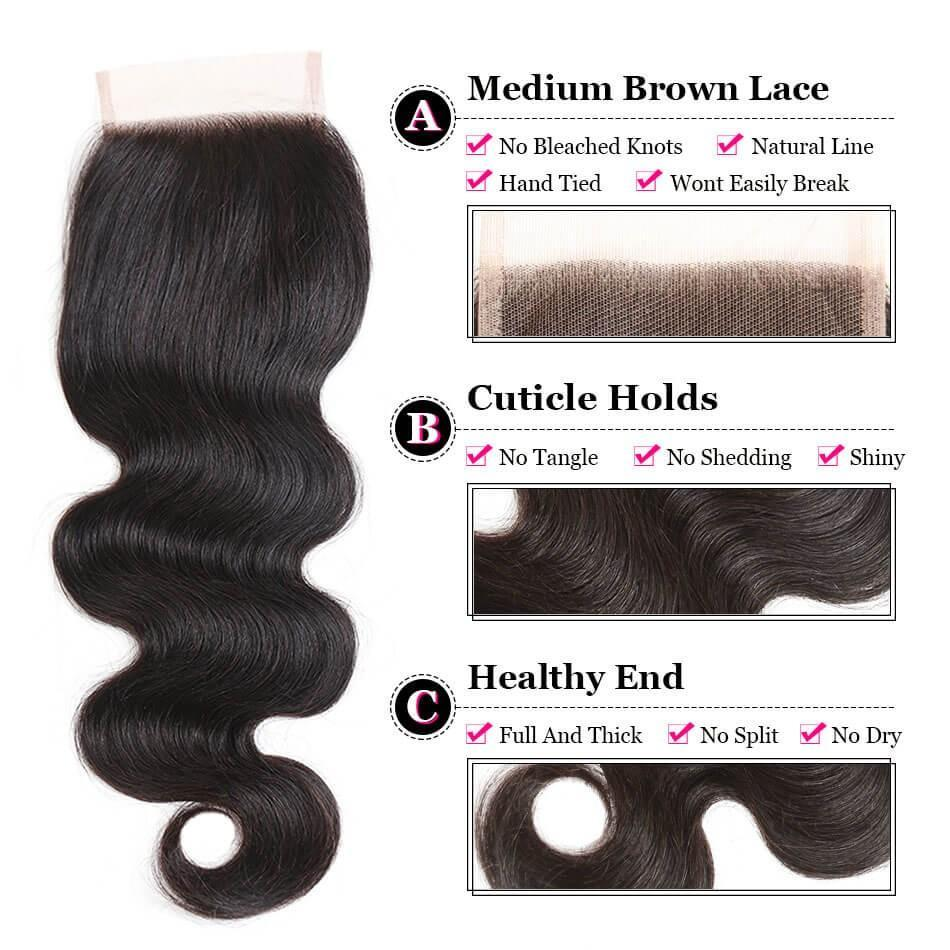 Puddinghair 8A Body Wave 4 Bundles Brazilian Virgin Human Hair With 4x4 Lace Closure