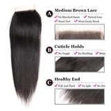 Puddinghair 8A Straight Hair 4 Bundles Brazilian Virgin Human Hair With 4x4 Lace Closure