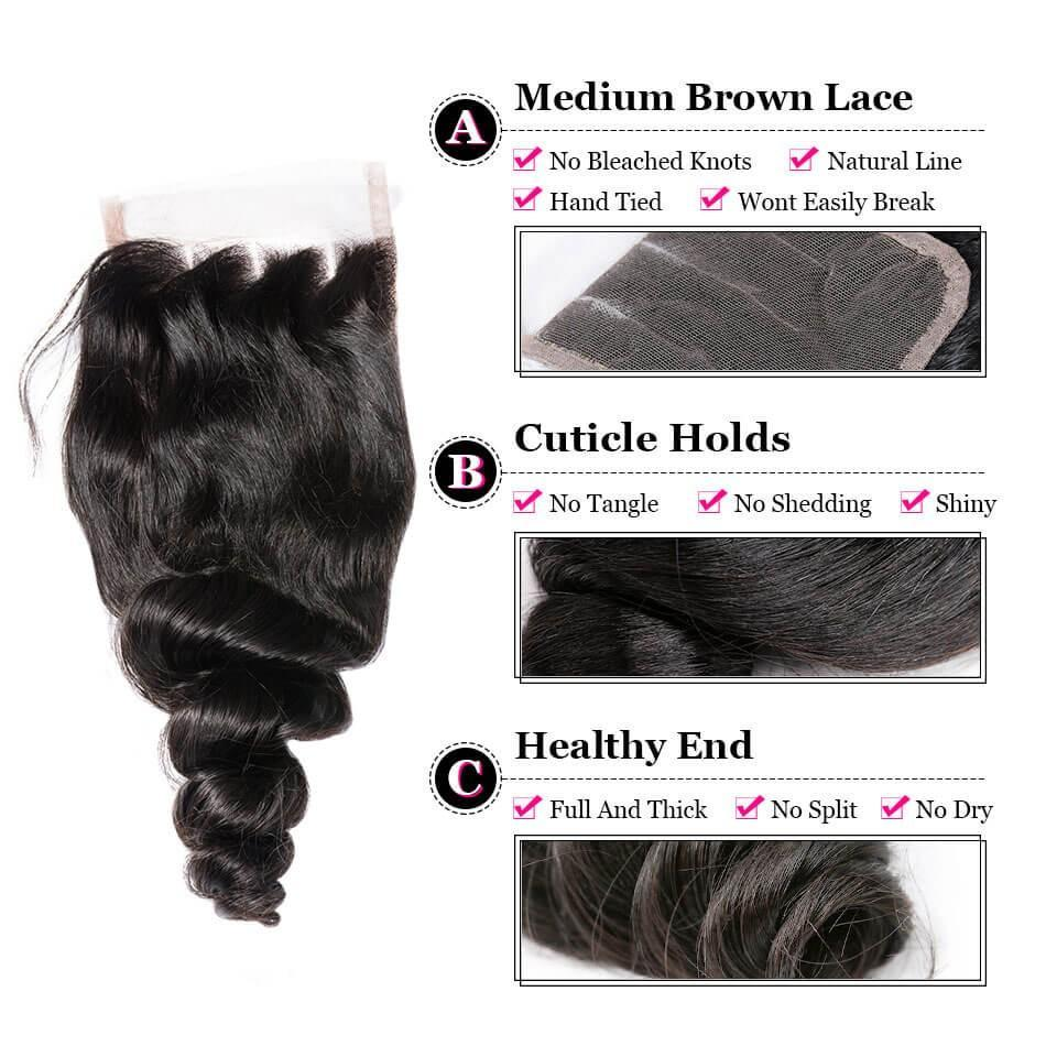 Puddinghair 8A Best Brazilian 3 Bundles Loose Wave With 4x4 Lace Closure