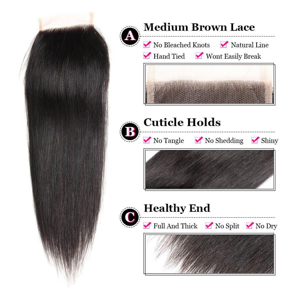 Puddinghair 8A Brazilian Straight Hair 3 Bundles deals with 4x4 Lace Closure