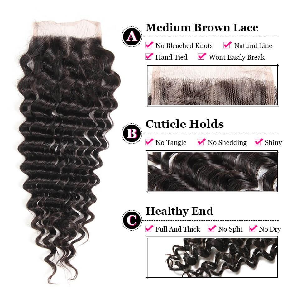 Puddinghair 8A Peruvian Deep Wave 3 Bundles With 4x4 Lace Closure Virgin Human Hair