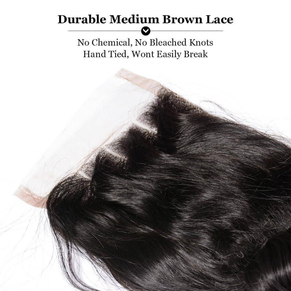 Puddinghair 8A Loose Wave Brazilian Virgin Human Hair 4 Bundles With 4x4 Lace Closure
