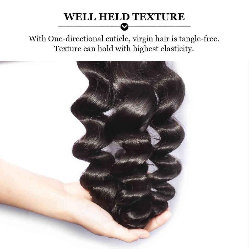 Puddinghair 8A 3 Bundles Loose Wave Peruvian Human Hair With Lace Frontal Closure