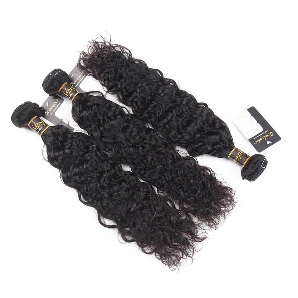Puddinghair 8A 3 Bundles Natural Wave Peruvian Human Hair With 13x4 Lace Frontal Closure