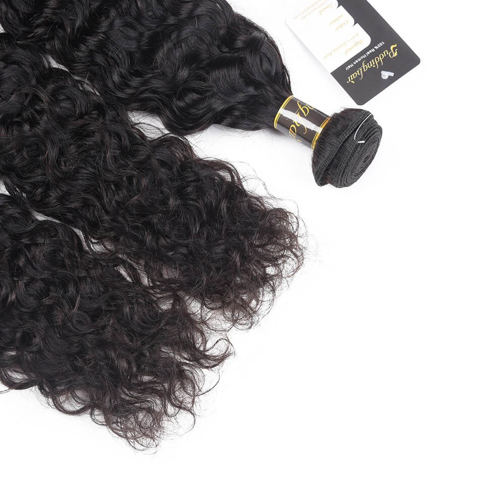 Puddinghair 8A Brazilian 3 Bundles Natural Wave Human Hair With 13x4 Lace Frontal Closure