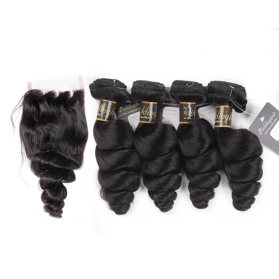 Puddinghair 8A Loose Wave Peruvian Virgin Human Hair 4 Bundles With 4x4 Lace Closure