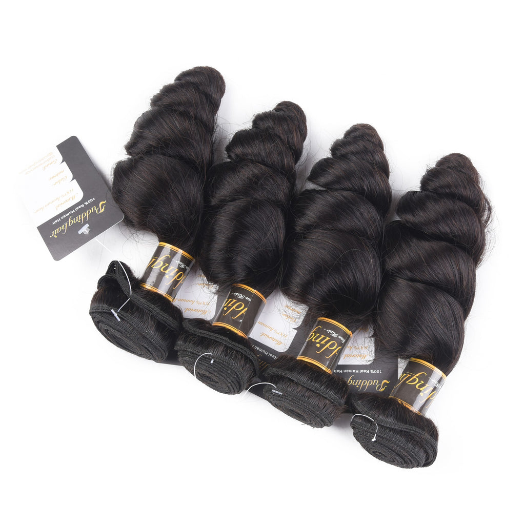 Puddinghair 8A Loose Wave Virgin Hair Peruvian/Brazilian Human Hair 4 Bundles