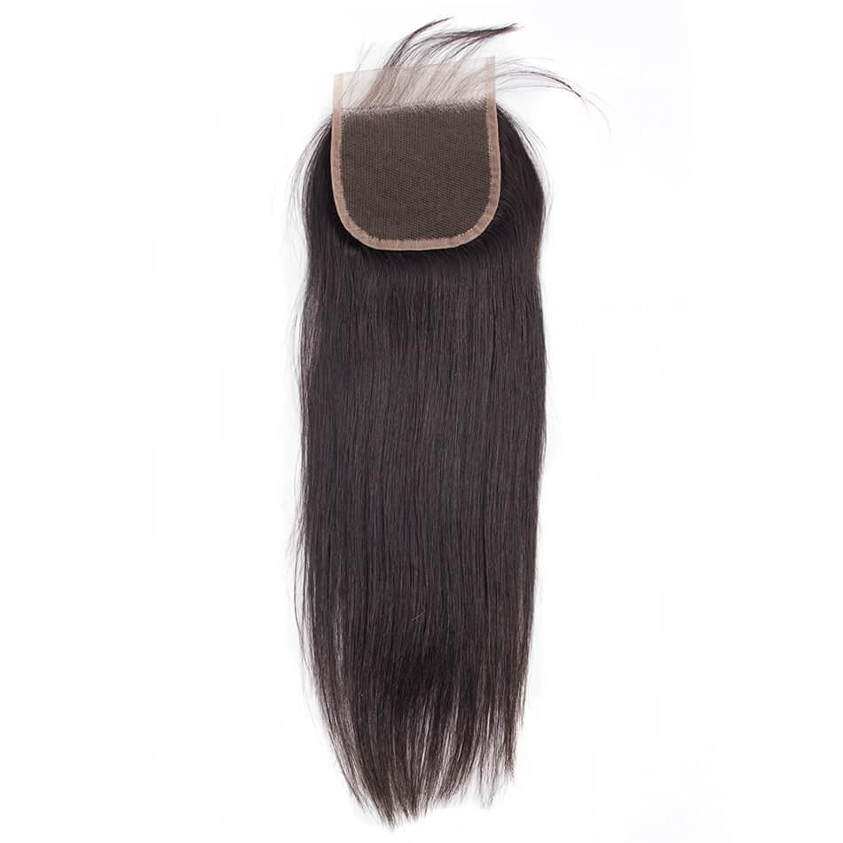 Puddinghair 8A Peruvian Straight Hair 3 Bundles Hair Weave with 4x4 Lace Closure