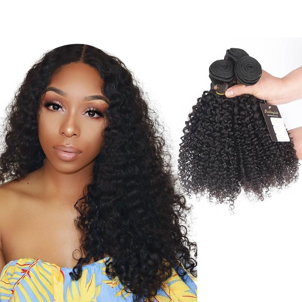 Puddinghair 8A Brazilian 3 Bundles Virgin Jerry Curly Hair with 4x4 Lace Closure