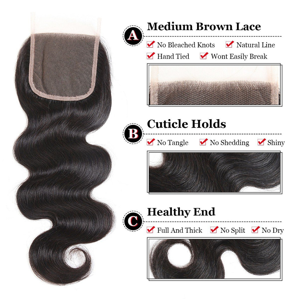 Puddinghair 8A Brazilian Body Wave Virgin Human Hair Lace Closure 4x4