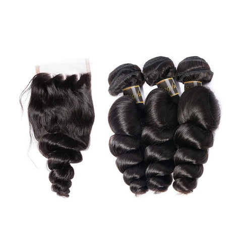 Puddinghair 8A Peruvian Human Hair 3 Bundles Loose Wave With 4x4 Lace Closure