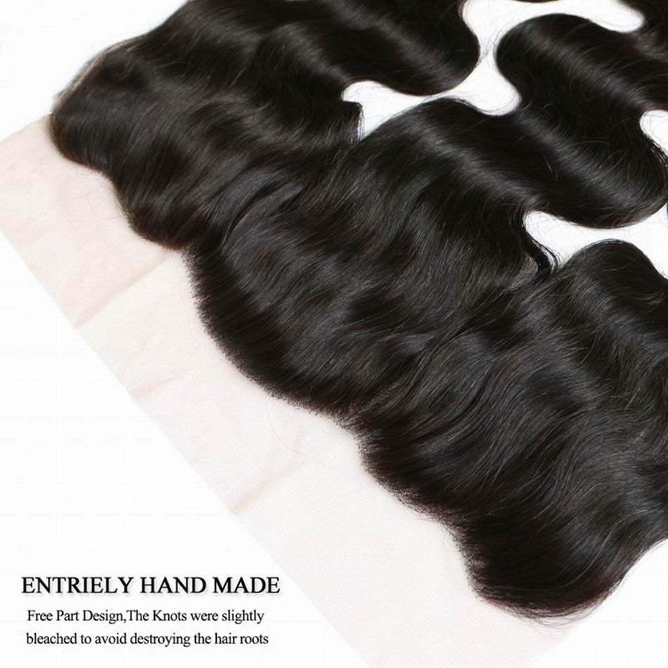 Puddinghair 8A Brazilian Body Wave Lace Frontal Hair Closure