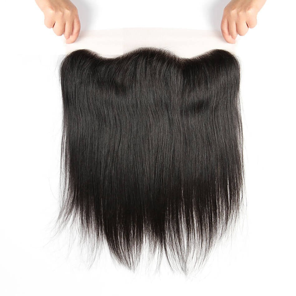Puddinghair 8A Straight Hair 3 Bundles Peruvian Virgin Hair with Lace Frontal Closure