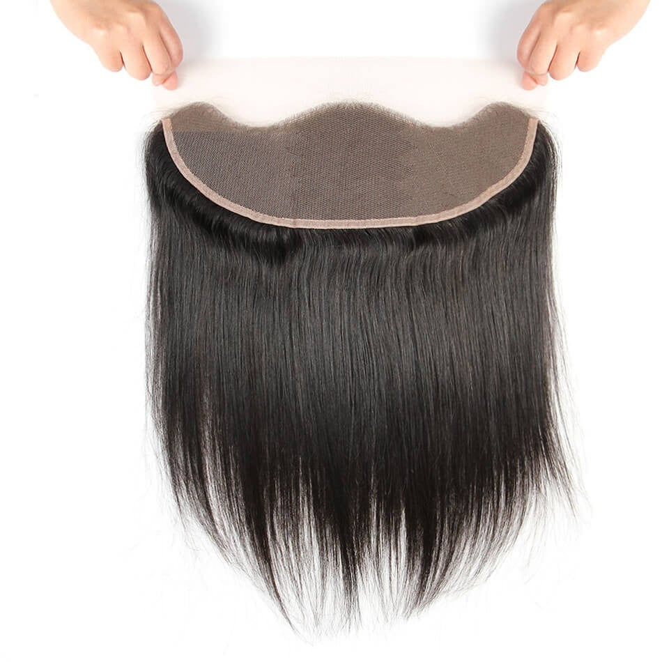 Puddinghair 8A Brazilian Straight Hair 13x4 Lace Frontal Hair Closure Natural Black