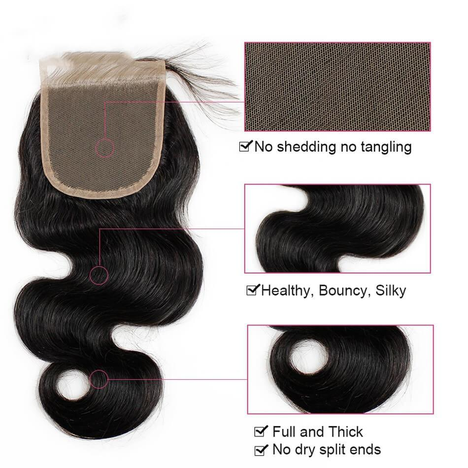 Puddinghair 8A Brazilian 3 Bundles with 4x4 Lace Closure Body Wave Hair Weave
