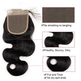 Puddinghair 8A Peruvian Body Wave 3 Bundles Hair Weave with 4x4 Lace Closure