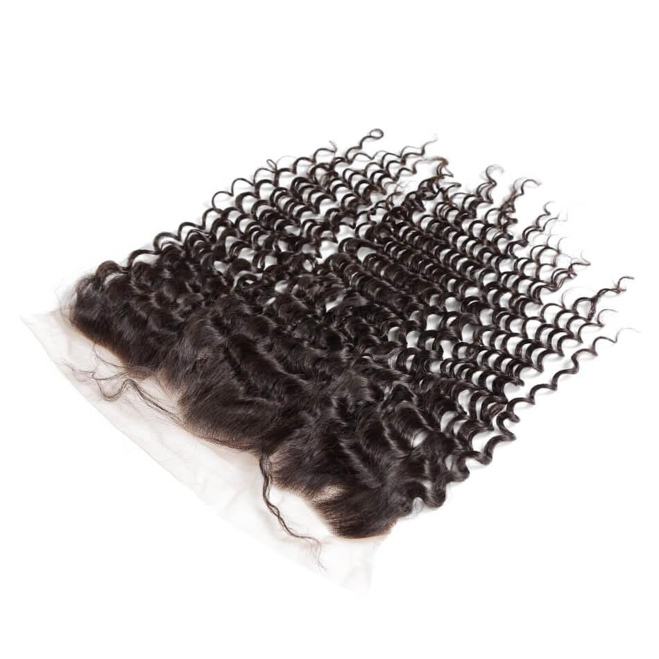 Puddinghair 8A Brazilian 3 Bundles Deep Wave Human Hair With Lace Frontal Closure
