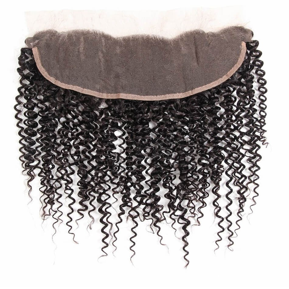 Puddinghair 8A Jerry Curly 3 Bundles Brazilian Human Hair With 13x4 Lace Frontal Closure