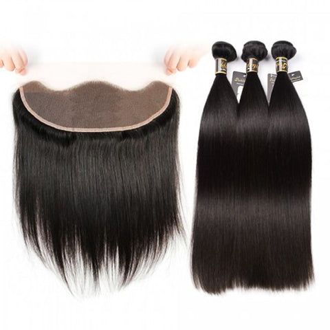 Puddinghair 8A Straight Hair 3 Bundles Peruvian Virgin Hair with 13x4 Lace Frontal Closure