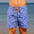 Eco-Friendly Mens Retro Trunks Boardies recycled plastic bottles, in Palmageddon front view