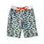 South Beach Boardies Kids Long Boardies from recycled plastic bottles, Hooray for Fish, front