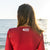 South Beach Boardies Women's Burgundy Rashie Shrug made from recycled fishing nets, back view
