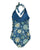 South Beach Boardies Women's Vintage One piece swimsuit In Bloom Print, made from recycled plastic bottles, back view flat lay