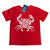 South Beach Boardies RED  kids organic tshirt ocean pollution makes me crabby, front