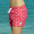 South Beach Boardies recycled plastic pink Womens Summer Shorts in I Love Dragonflies, left side ws