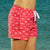 South Beach Boardies recycled plastic pink Womens Summer Shorts in I Love Dragonflies, right side ws