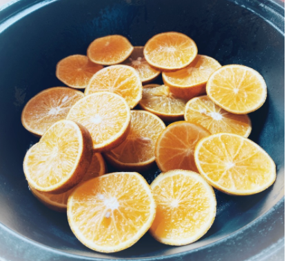 sliced orange to go in the tagine to make pasture raised chicken