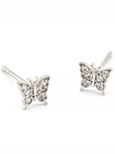 Load image into Gallery viewer, Pave Butterfly Post Earrings