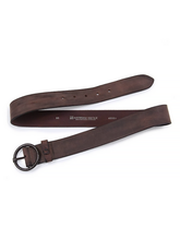 Load image into Gallery viewer, Vintage Round Buckle Leather Belt