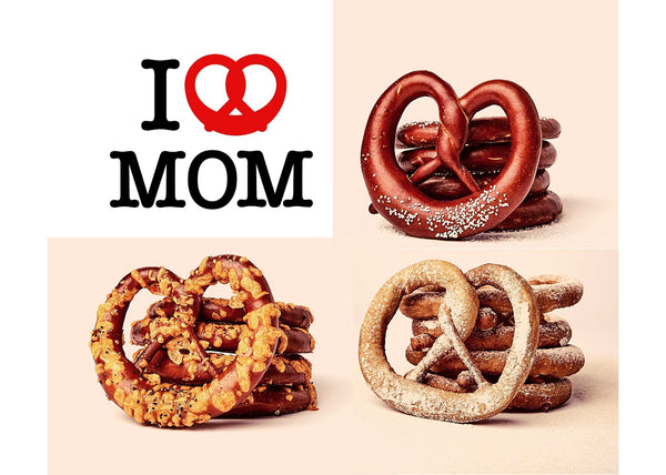 I LOVE MOM. 4 Classic, 4 Truffle Cheddar, 4 Churro Pretzels. Free Local Shipment.