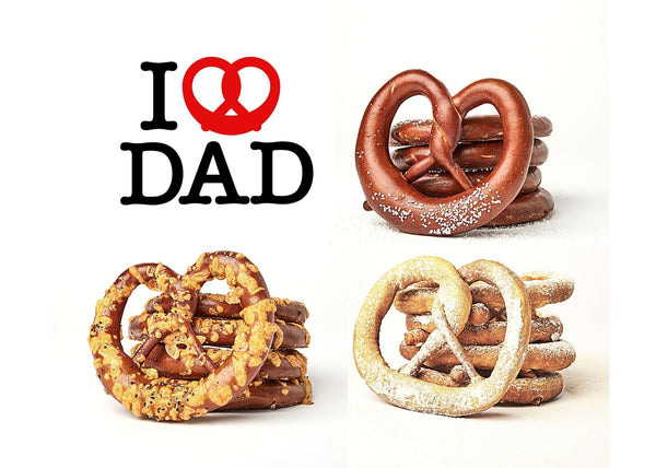 I LOVE DAD. 4 Classic, 4 Truffle Cheddar, 4 Churro Pretzels. Free Local Shipment.