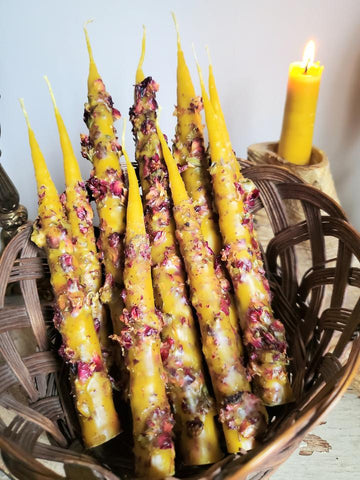 Rose Petal Hand-Dipped Beeswax Candle