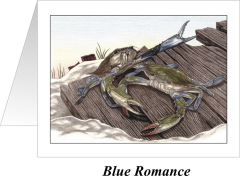 Blue Romance Crab Note Cards - JWB Art Unlimited